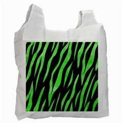 Skin3 Black Marble & Green Watercolor Recycle Bag (two Side)