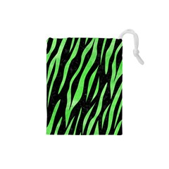 Skin3 Black Marble & Green Watercolor Drawstring Pouches (small)