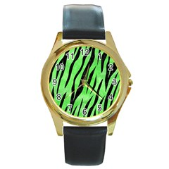 Skin3 Black Marble & Green Watercolor (r) Round Gold Metal Watch