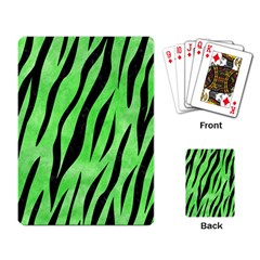 Skin3 Black Marble & Green Watercolor (r) Playing Card