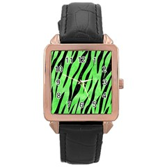 Skin3 Black Marble & Green Watercolor (r) Rose Gold Leather Watch