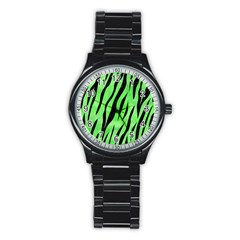 Skin3 Black Marble & Green Watercolor (r) Stainless Steel Round Watch