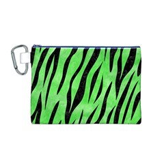 Skin3 Black Marble & Green Watercolor (r) Canvas Cosmetic Bag (m)