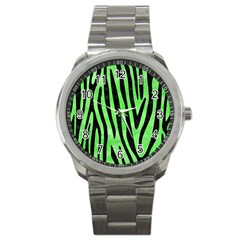 Skin4 Black Marble & Green Watercolor Sport Metal Watch