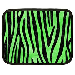 Skin4 Black Marble & Green Watercolor Netbook Case (large)