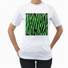 Skin4 Black Marble & Green Watercolor (r) Women s T Shirt (white) (two Sided)