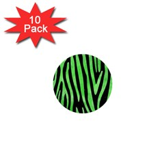 Skin4 Black Marble & Green Watercolor (r) 1  Mini Buttons (10 Pack)