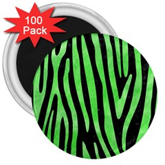 Skin4 Black Marble & Green Watercolor (r) 3  Magnets (100 Pack)
