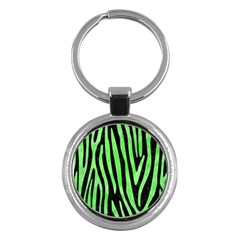 Skin4 Black Marble & Green Watercolor (r) Key Chains (round)