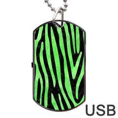 Skin4 Black Marble & Green Watercolor (r) Dog Tag Usb Flash (two Sides)