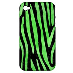 Skin4 Black Marble & Green Watercolor (r) Apple Iphone 4/4s Hardshell Case (pc+silicone)