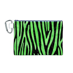 Skin4 Black Marble & Green Watercolor (r) Canvas Cosmetic Bag (m)