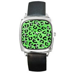 Skin5 Black Marble & Green Watercolor Square Metal Watch