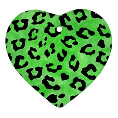 Skin5 Black Marble & Green Watercolor Heart Ornament (two Sides)
