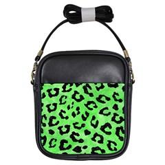 Skin5 Black Marble & Green Watercolor Girls Sling Bags