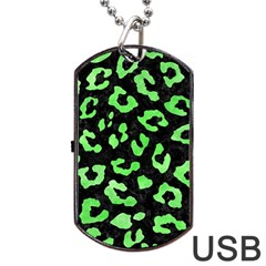 Skin5 Black Marble & Green Watercolor (r) Dog Tag Usb Flash (one Side)