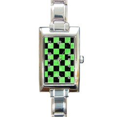 Square1 Black Marble & Green Watercolor Rectangle Italian Charm Watch