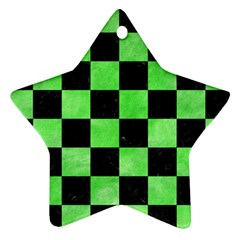 Square1 Black Marble & Green Watercolor Ornament (star)