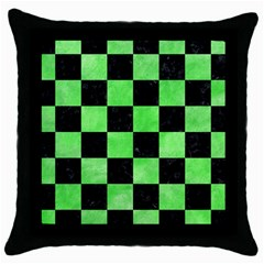 Square1 Black Marble & Green Watercolor Throw Pillow Case (black)