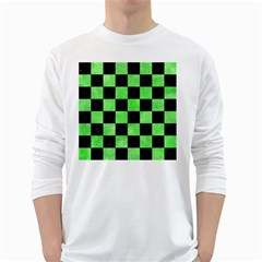 Square1 Black Marble & Green Watercolor White Long Sleeve T Shirts