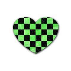 Square1 Black Marble & Green Watercolor Heart Coaster (4 Pack)