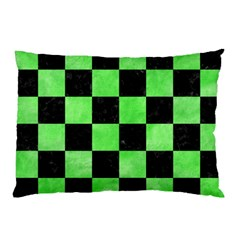 Square1 Black Marble & Green Watercolor Pillow Case (two Sides)