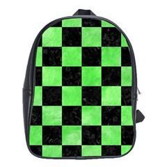 Square1 Black Marble & Green Watercolor School Bag (xl)