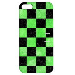 Square1 Black Marble & Green Watercolor Apple Iphone 5 Hardshell Case With Stand