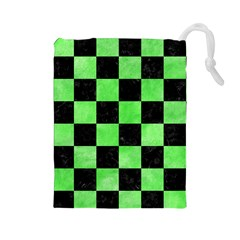 Square1 Black Marble & Green Watercolor Drawstring Pouches (large)