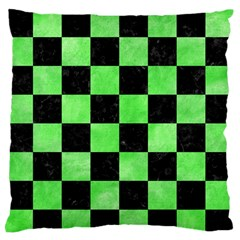 Square1 Black Marble & Green Watercolor Large Flano Cushion Case (two Sides)