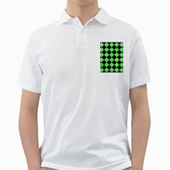 Square2 Black Marble & Green Watercolor Golf Shirts