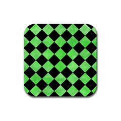 Square2 Black Marble & Green Watercolor Rubber Square Coaster (4 Pack)