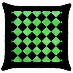 Square2 Black Marble & Green Watercolor Throw Pillow Case (black)