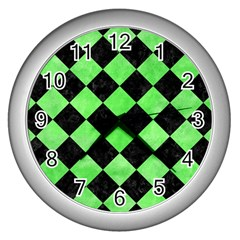 Square2 Black Marble & Green Watercolor Wall Clocks (silver)