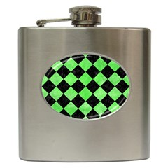 Square2 Black Marble & Green Watercolor Hip Flask (6 Oz)