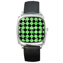 Square2 Black Marble & Green Watercolor Square Metal Watch