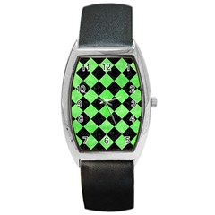Square2 Black Marble & Green Watercolor Barrel Style Metal Watch