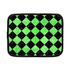 Square2 Black Marble & Green Watercolor Netbook Case (small)