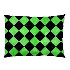 Square2 Black Marble & Green Watercolor Pillow Case