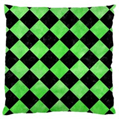 Square2 Black Marble & Green Watercolor Large Cushion Case (two Sides)