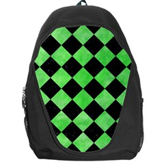 Square2 Black Marble & Green Watercolor Backpack Bag
