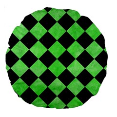 Square2 Black Marble & Green Watercolor Large 18  Premium Round Cushions