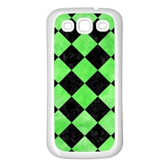 Square2 Black Marble & Green Watercolor Samsung Galaxy S3 Back Case (white)