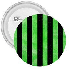 Stripes1 Black Marble & Green Watercolor 3  Buttons