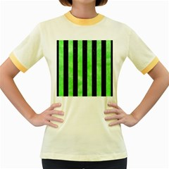 Stripes1 Black Marble & Green Watercolor Women s Fitted Ringer T Shirts