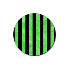 Stripes1 Black Marble & Green Watercolor Rubber Round Coaster (4 Pack)