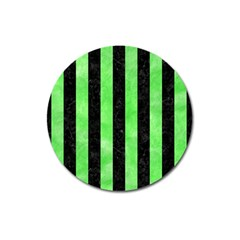 Stripes1 Black Marble & Green Watercolor Magnet 3  (round)