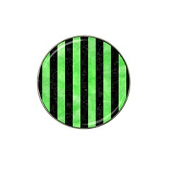 Stripes1 Black Marble & Green Watercolor Hat Clip Ball Marker (10 Pack)