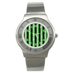 Stripes1 Black Marble & Green Watercolor Stainless Steel Watch
