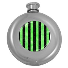 Stripes1 Black Marble & Green Watercolor Round Hip Flask (5 Oz)